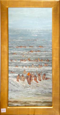 Geoffrey John Roper Beach scene, circa 1976