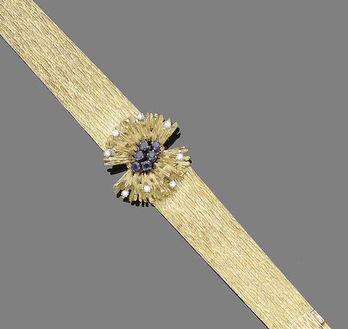 A sapphire and diamond cuff bracelet,