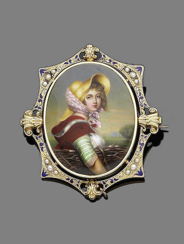 A gold, enamel and seed pearl brooch,