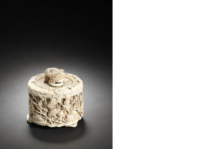 An ivory box and cover Early Meiji Period