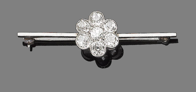 A diamond-set bar brooch