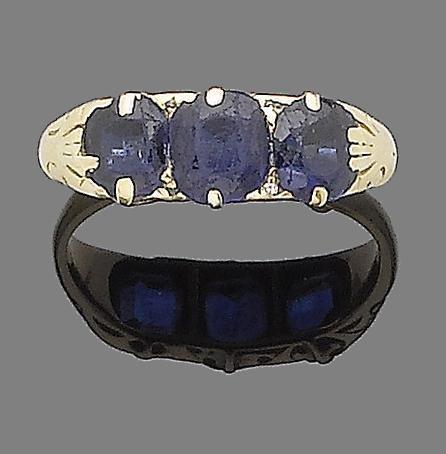 A sapphire three-stone ring
