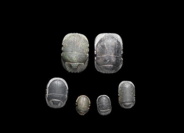 Six Egyptian hardstone funerary scarabs 6