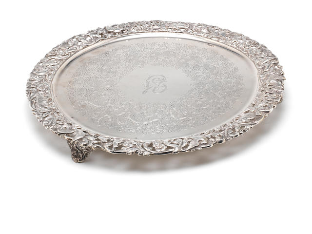 A Victorian silver salver by Manoah Rhodes & Sons Ltd, London 1895