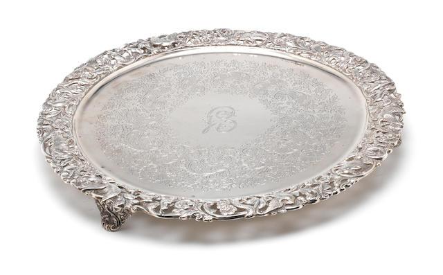 A Victorian silver salver by Manoah Rhodes & Sons Ltd, London 1895