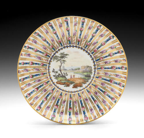 A rare Derby saucer dish by Billingsley and Boreman, circa 1790