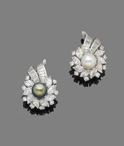 A pair of cultured pearl and diamond cluster earrings
