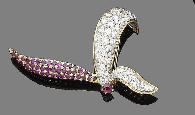 A ruby and diamond flower brooch