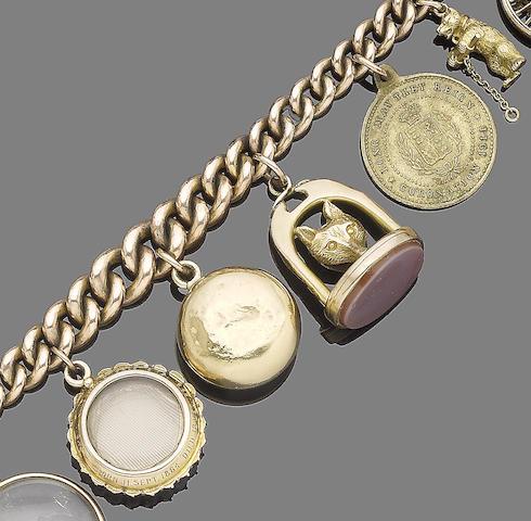 A late 19th century charm bracelet