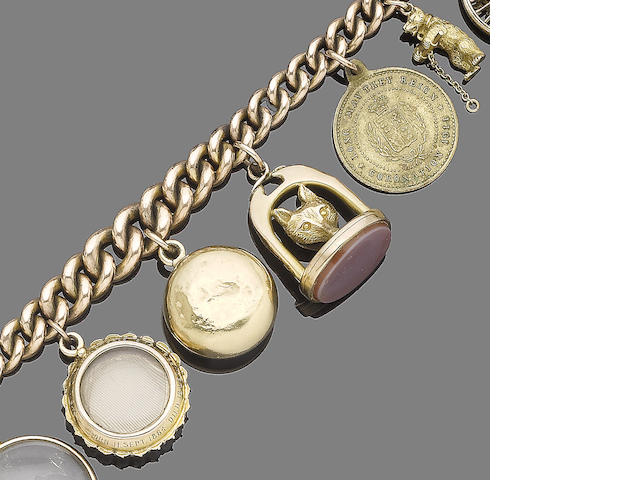 A late 19th century charm bracelet