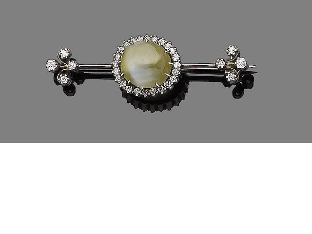 A late 19th century chrysoberyl and diamond bar brooch