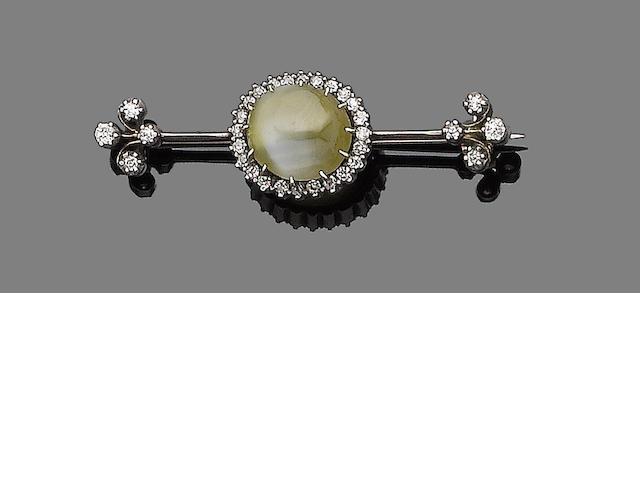 A late 19th century chrysoberyl and diamond bar brooch