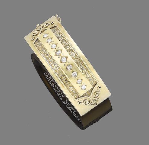 A diamond-set bangle,