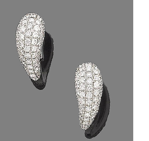 A pair of diamond earhoops, by Chimento