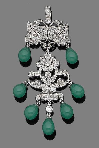A paste and diamond pendant