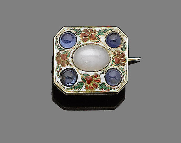 A sapphire and enamel brooch, by Carlo Giuliano,