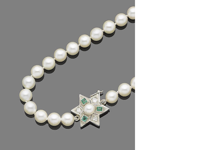 A single-strand cultured pearl and gem-set necklace