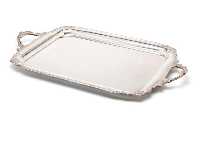 A silver two-handled tray by Alexander Clark & Co Ltd, Birmingham 1936