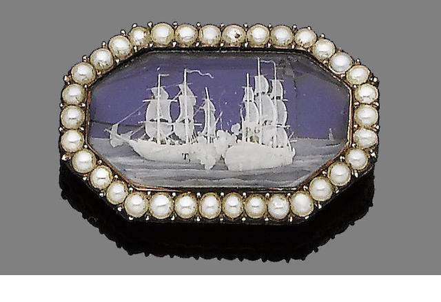 A seed pearl, ivory, rock crystal and enamel brooch,