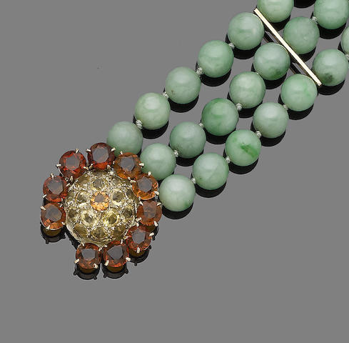 A jade bead and citrine bracelet