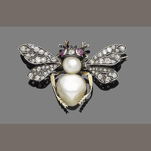 A natural pearl, ruby and diamond brooch