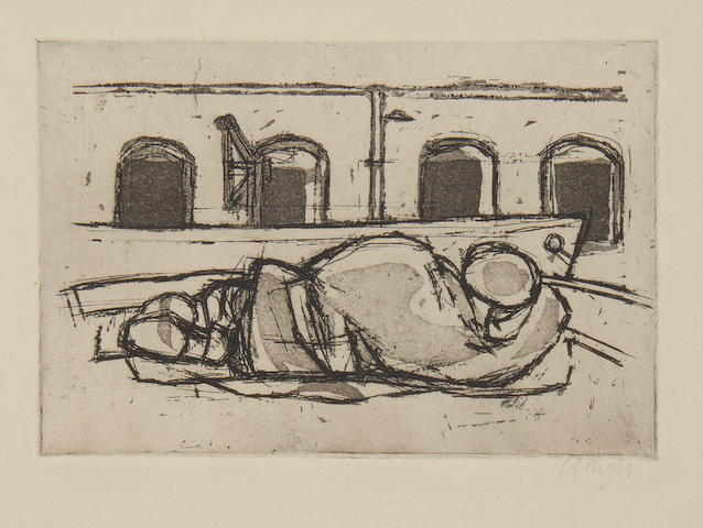 Prunella Clough (British, 1919-1999) Man Asleep on a Barge Etching with aquatint printed with tone, 1954, a rich impression, on wove, signed in pencil, one of a few proofs, there was no edition published, with margins, 100 x 150mm (3 7/8 x 5 7/8in)(PL)