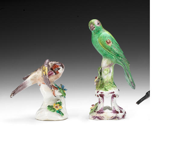 A Bow model of a parrot and a Bow model of a finch, circa 1770