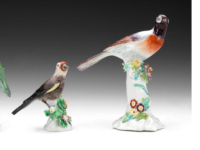 A Bow model of a finch and a Derby songbird, circa 1765-70