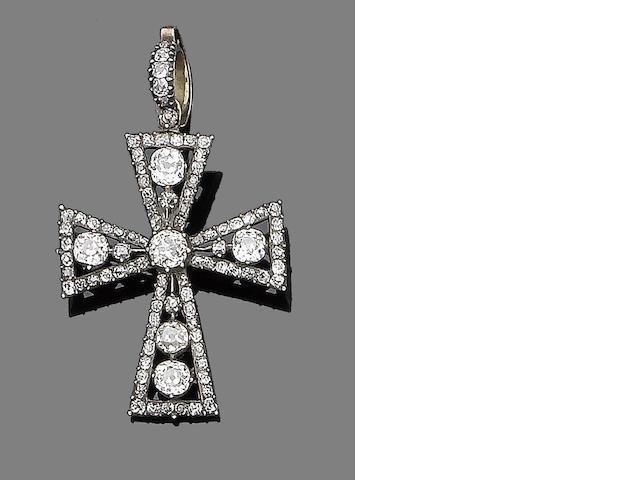 A diamond cross pendant,
