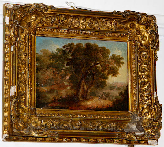 18th Century School Landscape with trees (extensively cleaned) oil on canvas laid to panel