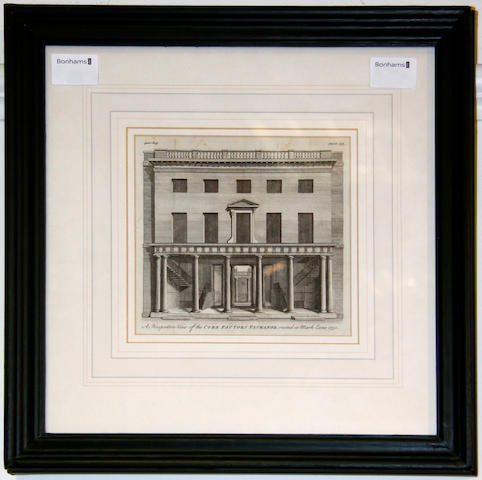 Mid 18th Century School Print of the Corn Factors Exchange 16 x 17.5cm