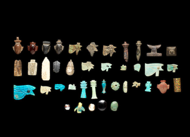 A large group of Egyptian amulets and other later amulets and intaglios, a lot