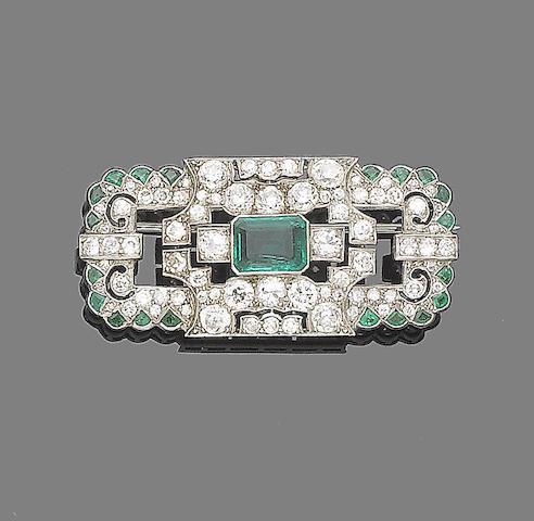 An art deco emerald and diamond brooch,