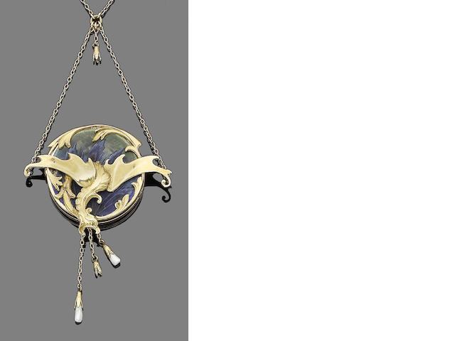 An art nouveau gold, enamel and pearl pendant necklace,