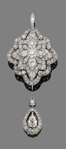 A diamond brooch/pendant and a diamond pendant, (2)