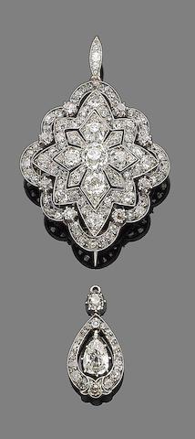 A diamond brooch/pendant and a diamond pendant, (2)