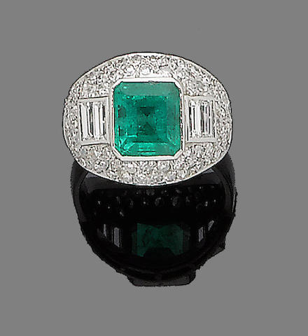 An emerald and diamond dress ring, 1994