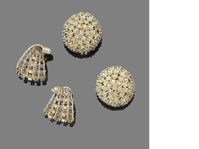 A pair of sapphire and diamond earclips and a pair of diamond-set earclips (2)