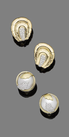 A pair of mabé pearl and diamond earclips and a pair of diamond earclips (2)