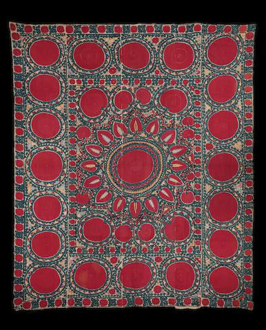 A Tashkent silk embroidered linen Panel (susani) Uzbekistan, mid 19th Century