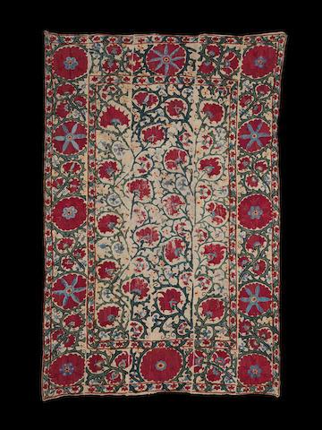 A silk embroidered linen Panel (susani) Uzbekistan, 19th Century