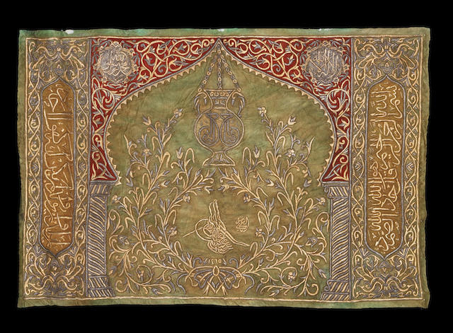 An Ottoman metal-thread embroidered silk Panel with the tughra of Sultan Abdul Mecid (AH 1255-77/ AD 1839-61) dated AH 1265/ AD 1848-9
