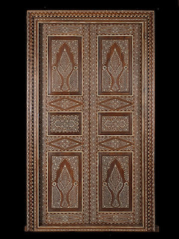 A pair of Hoshiarpur ivory-inlaid wood Doors Northern  India, late 19th Century