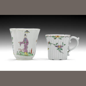Two Worcester cups, circa 1753-54