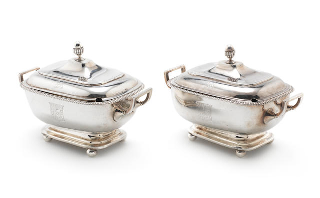 A pair of George III silver two-handle sauce tureens and covers by John Emes, London 1807