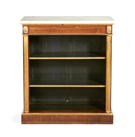 A Regency rosewood and parcel gilt open bookcase