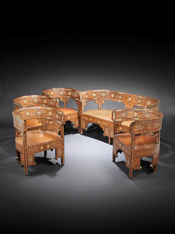 A Damascus mother-of-pearl-inlaid marquetry wood salon Suite Syria, circa 1920(5)