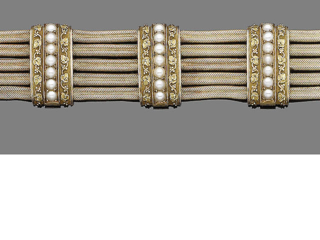 A late 19th century gold and seed pearl bracelet