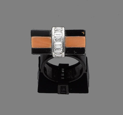 An art deco onyx, coral and diamond ring,