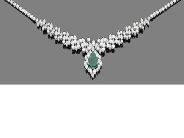 An emerald and diamond necklace/tiara (3)